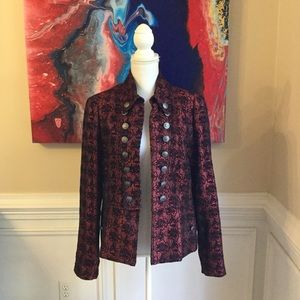 CASS Ruby Red & Black Jacket w/Crest Buttons EUC